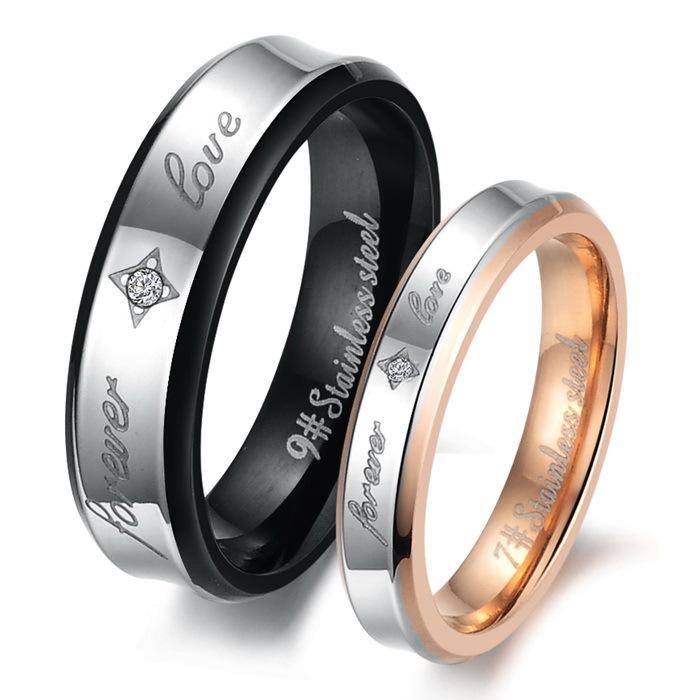 2015 New Jewelry Fashion Hot Trend Exquisite Black Gold Zircon Love Titanium Steel Couple Rings Gj283 - kiki fashion jewelry ( worldwide store)