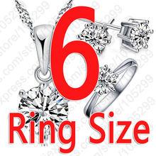 אישה של יום הולדת מתנת חתונת תכשיטי סט אופנה 925 סטרלינג כסף קריסטל שרשרת טבעת עגיל 3 יח'\סט(China)