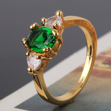 2015 New Fashion Women Finger Rings 24K Yellow Gold Plated Ring Emerald Crystal Rings Jewelry wholesale jewellery mix lots R221