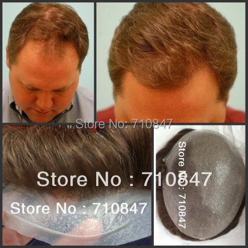 All V- loop invisible knot stock hair replacement men toupee free shipping