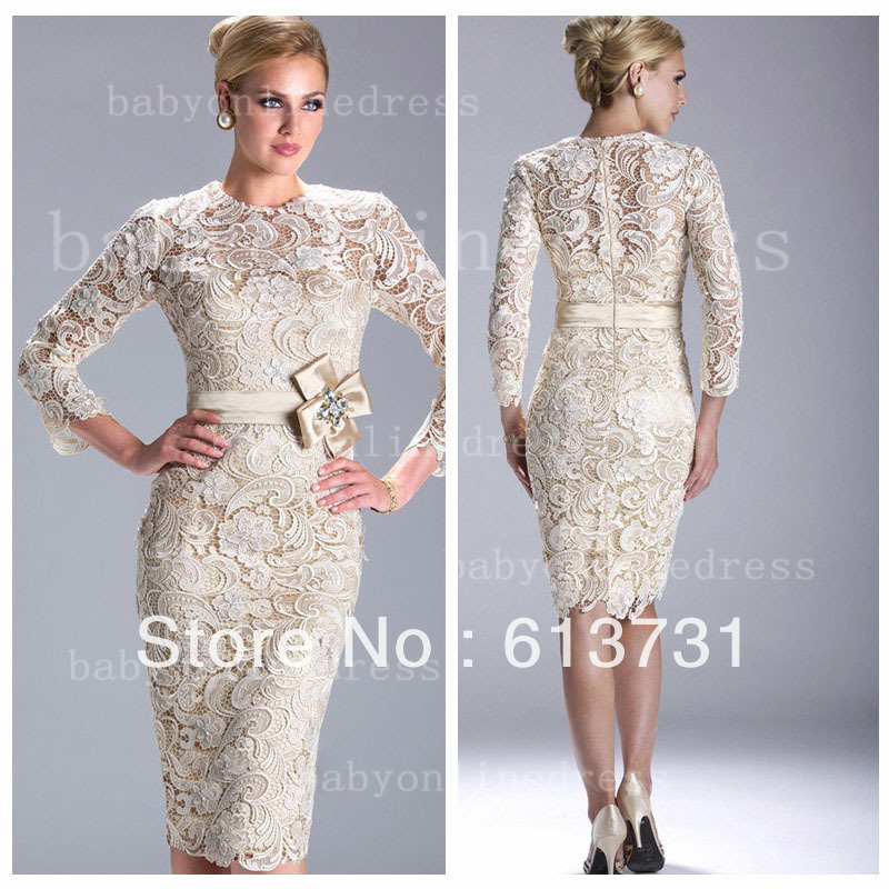 Long sleeve knee length evening dresses