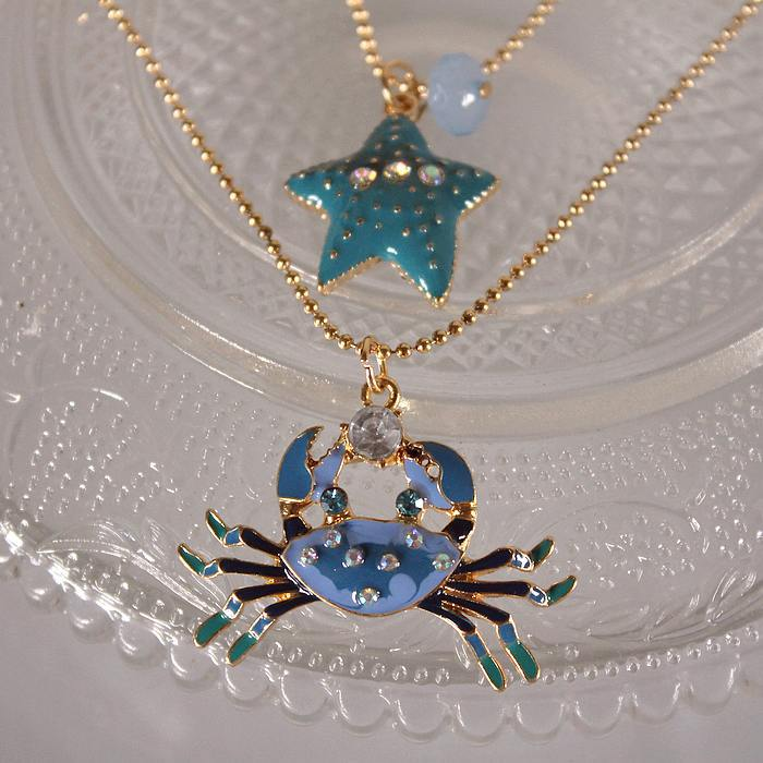 Fashion necklace 2014 new BJ blue ocean style 130630 crab starfish double - jewelry shop paradise store