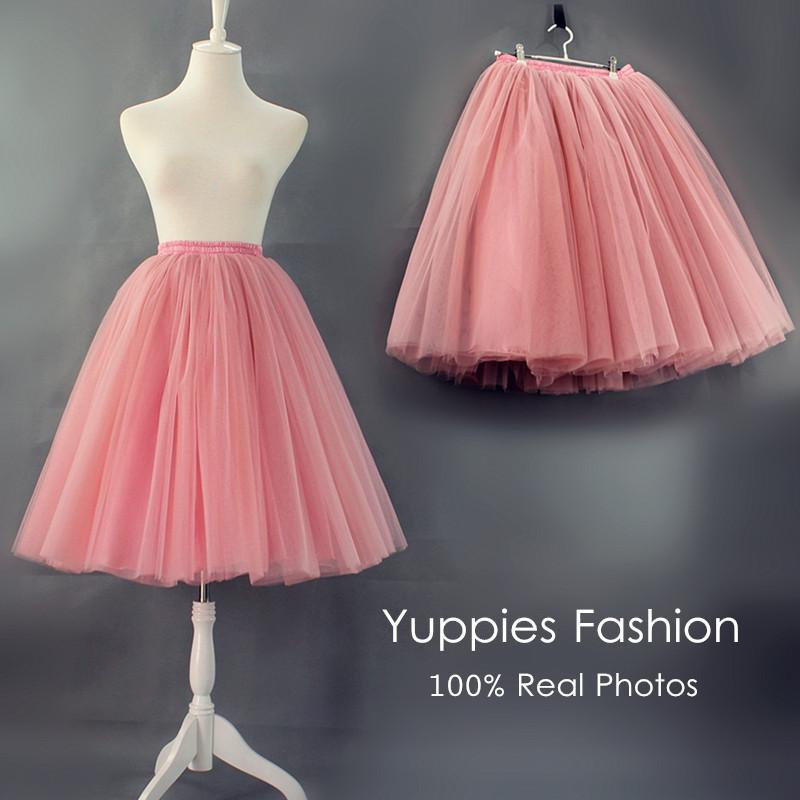 Yuppies Fashion 7 Layers Midi Tulle Skirt American Apparel Quality Tutu Skirts Womens Petticoat 2016 Autumn faldas saia jupe