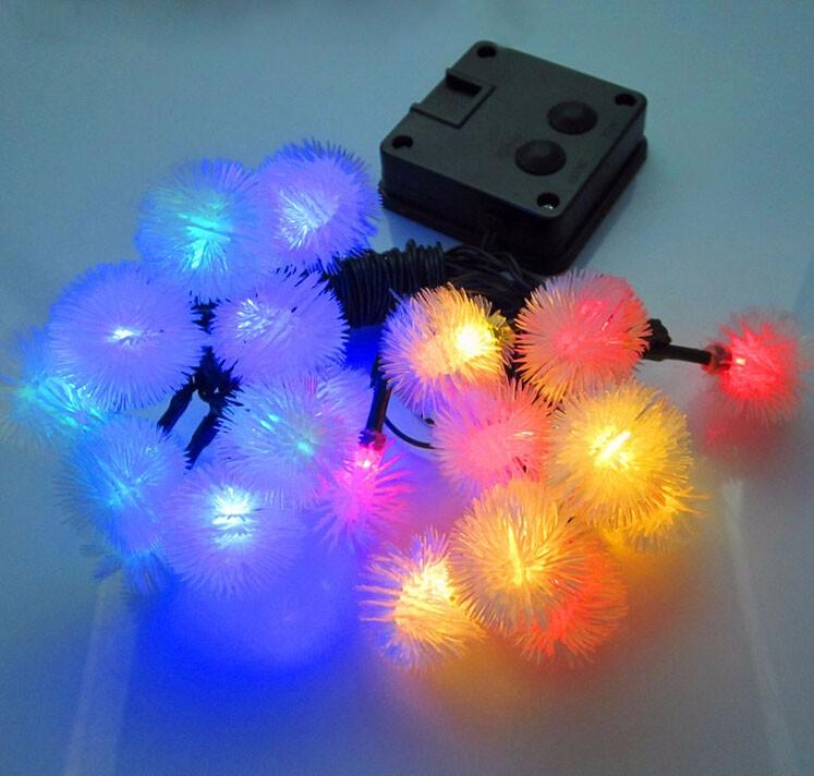 solar LED fuzzy ball light string-1