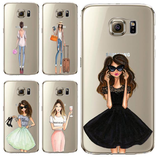 Phone Case для Samsung Galaxy S5 S6 S6Edge S6Edge + S7 S7edge крышка Мягкая Кремния Мода Sexy Современная Леди Девушка Мешок Мобильного Телефона