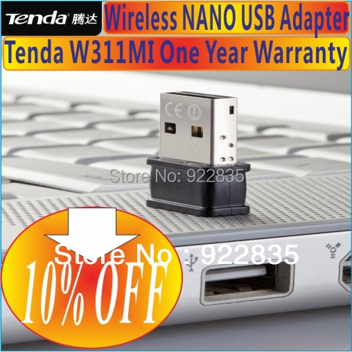 No color package box, Tenda W311MI NANO 150Mbps WiFi Wireless-N WLAN 150N USB2.0 Adapter Stick Dongle Network Adaptor(China (Mainland))