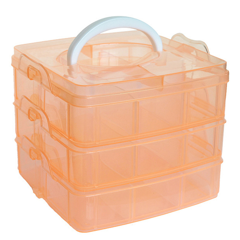 18 Slots Adjustable Transparent Jewelry Storage Box Ring ...