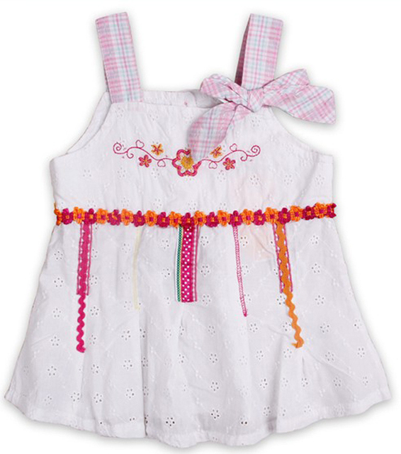 Free shipping NWT 5pcs/lot baby girl high quality woven cotton jacqueard strap dress with emboridery and grid bow
