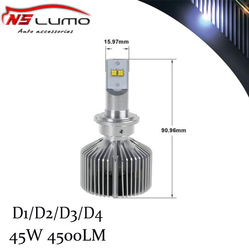 Фотография 2014 Newest & Brightest led car headlight D1 D2 D4 4500lm/bulb,9000lm/pair HID headlight led headlight 45w 6000K D2