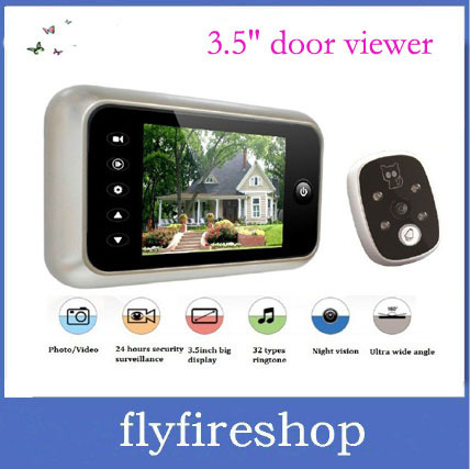 "Free Shipping 3.5"" LCD TFT screen,take picture+doorbell+nightvision,digital peephole viewer,digital peephole camera 10pcs/lot"