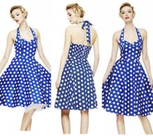 Retro Vintage Style 50s Big Swing Polka Dot halter Pinup Rockabilly Dresses(China (Mainland))