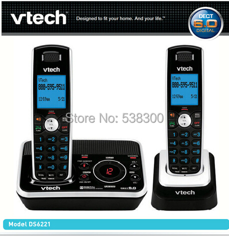 Free Shipping Vtech 6221 Dect 6.0 Expandable Two Handset Cordless Phone System with Digital Answering Device Wireless Telephone(China (Mainland))