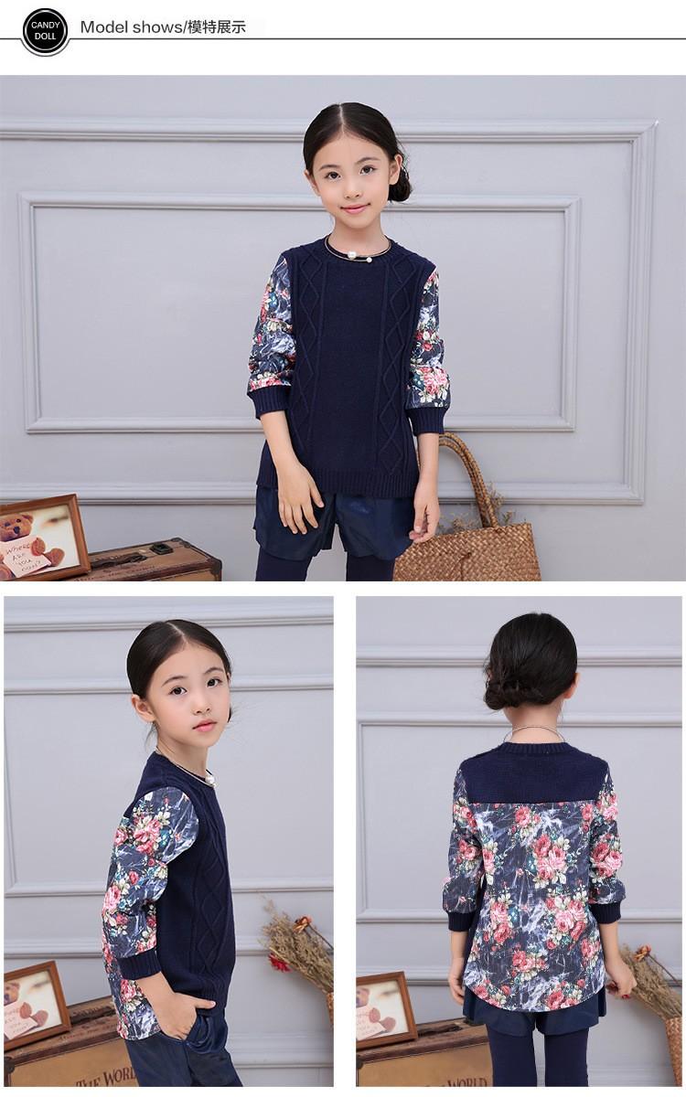 Скидки на Новый девочка с детская одежда толстый свитер печатных ретро волны весна осень детская одежда