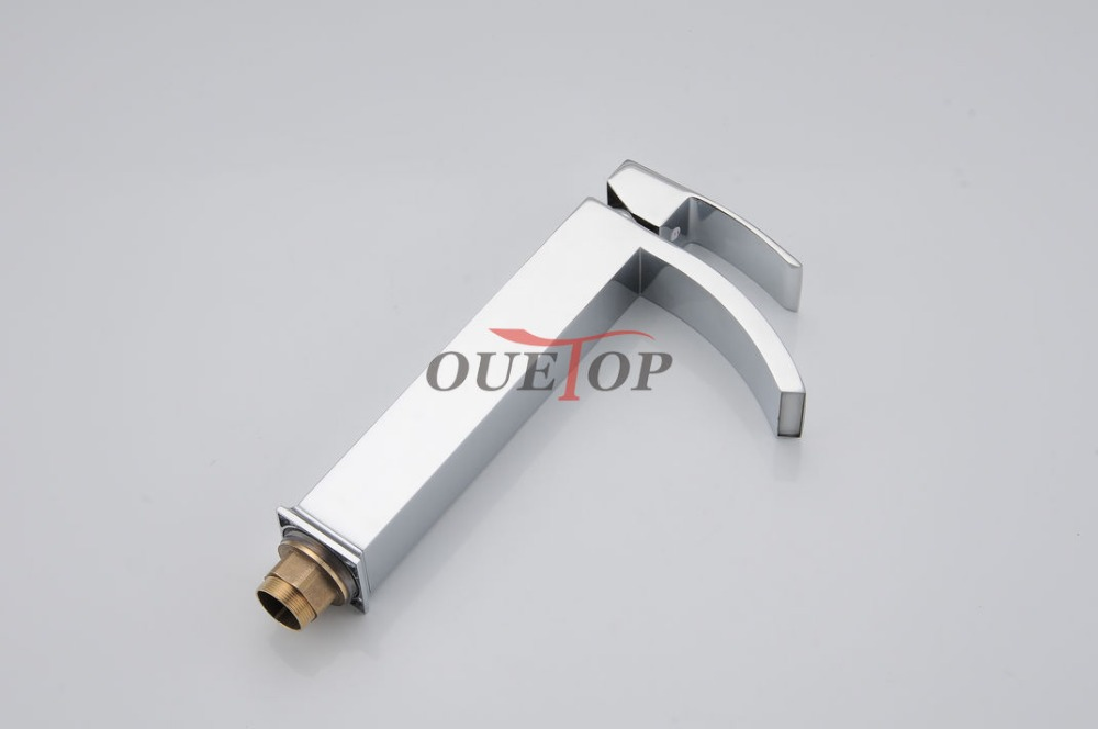 Free Shipping Classic New Deck Bathroom Basin Sink Mixer Tap Polished Chrome Faucet High Arch Waterfall Faucet Bathroom Faucet