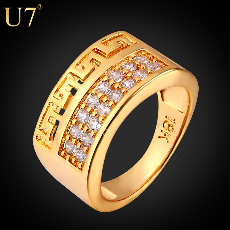 U7 Luxury AAA Cubic Zirconia Ring Wholesale 18K Real Gold Plated Trendy Party G Letter Gold Ring For Men Jewelry 2015 R378