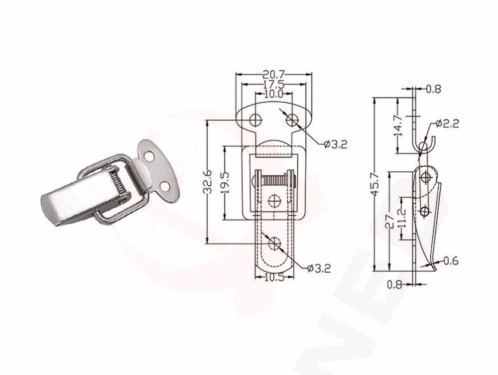 naierdi j107 hardware cabinet boxes spring loaded latch