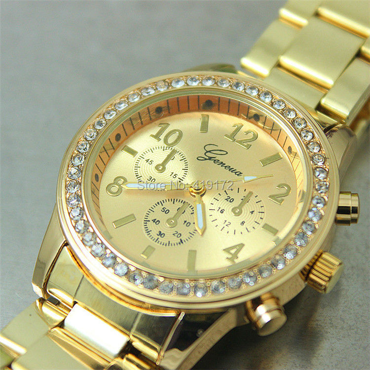 50pcs/lot,Women GENEVA Steel Watches Fashion dress diamond lady Gift metal wristWatch alloy Watches analog digital man watches(China (Mainland))