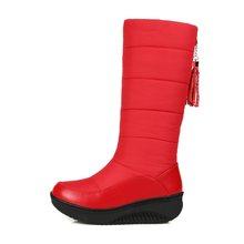 MEMUNIA Ủng cho Nữ Giày Nữ Đế bằng sáng chế da cao cấp tua rua chân váy cotton giữa bắp chân mùa đông giày size 35 -44(China)