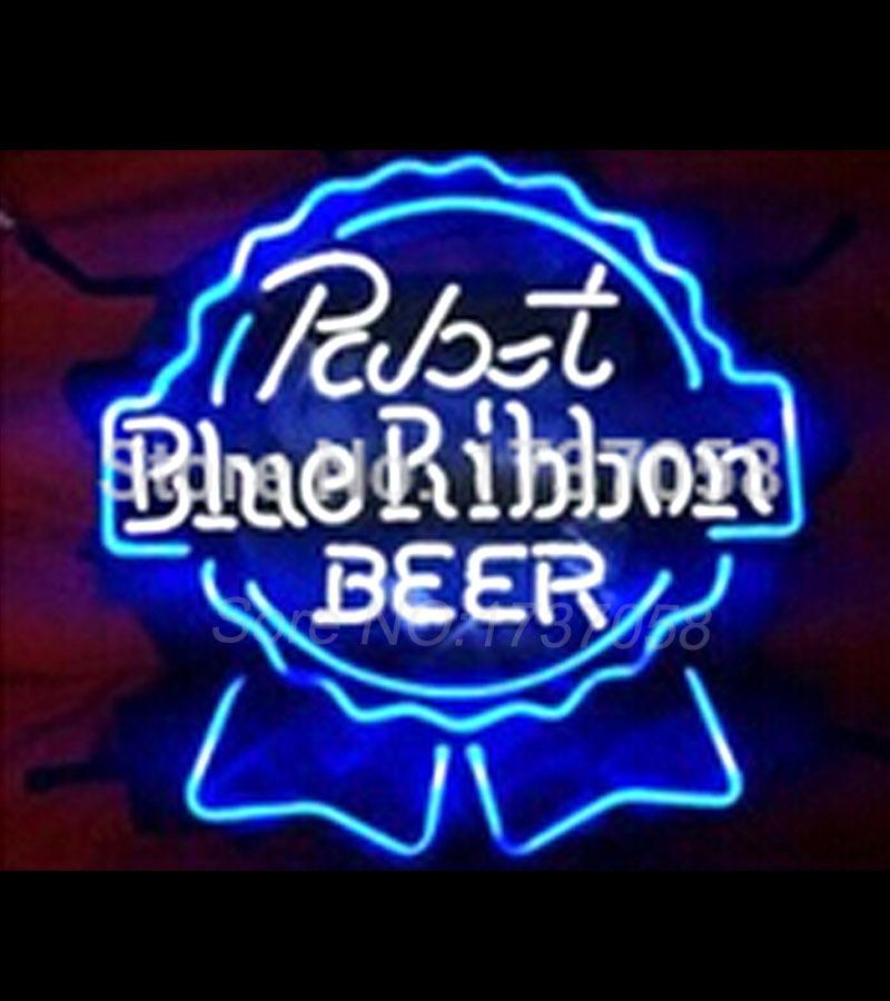 2015 Neon Sign Shiner PABST BLUE RIBBON Real Glass Custom