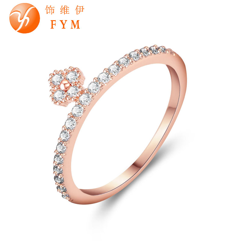 New Fashion Jewelry For Women Hot Finger Ring Luxury AAA Cubic Zirconia Stone Rose Gold Ring for Wedding(China (Mainland))