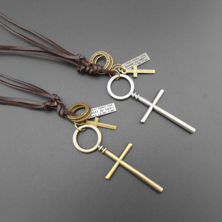 Very Fashion Girl And Boy Statement Necklace Shiny Antique Silver Cross Jewelry Brand Vintage Neclaces Masculino Accessories VAZ(China (Mainland))