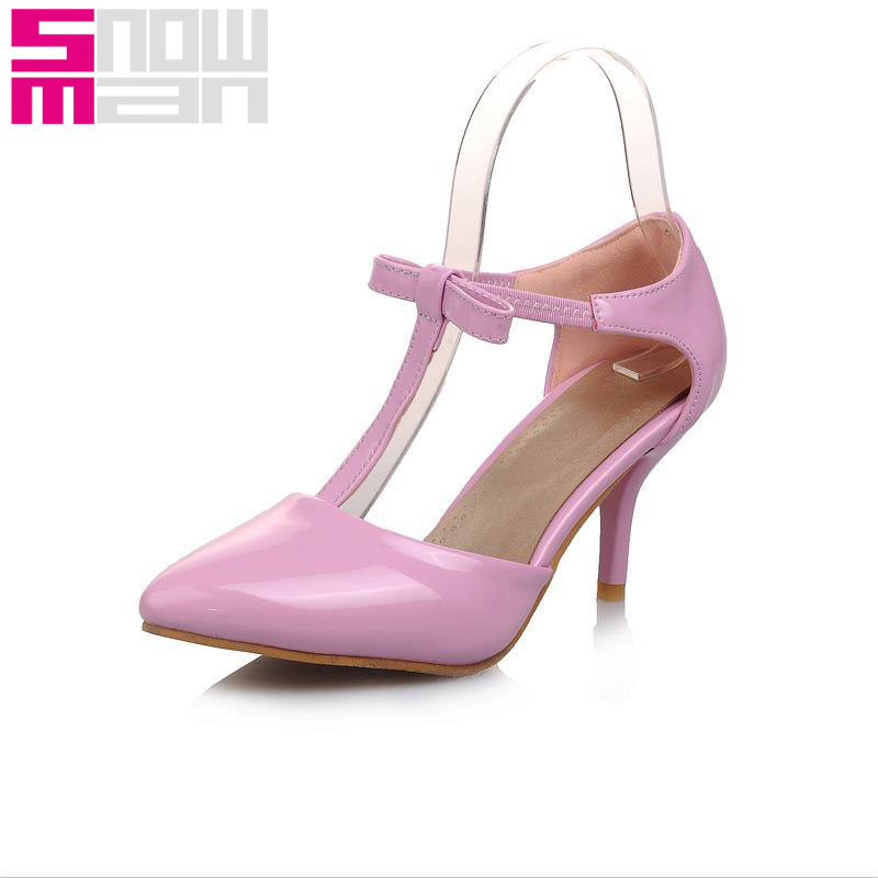 New T-Strap Women Pumps Sweet Bowtie Elatic Band Shoes Woman Patent Pointed Toe Summer Pumps Spike Med Heels Pretty Women Shoes<br><br>Aliexpress