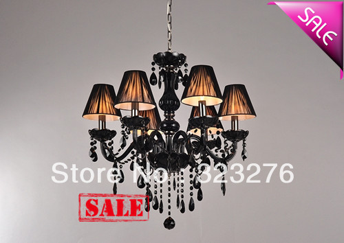 Free Shipping elegance Black crystal with 6 fabric shades pendant lamp suspend candle chandelier residential dinning lighting