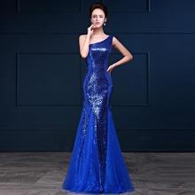 CEEWHY Azul Royal de Um Ombro Evening Gonw Sequinated Sereia Prom Vestidos Formais Vestidos de Noite Abendkleider Robe De Soiree(China)