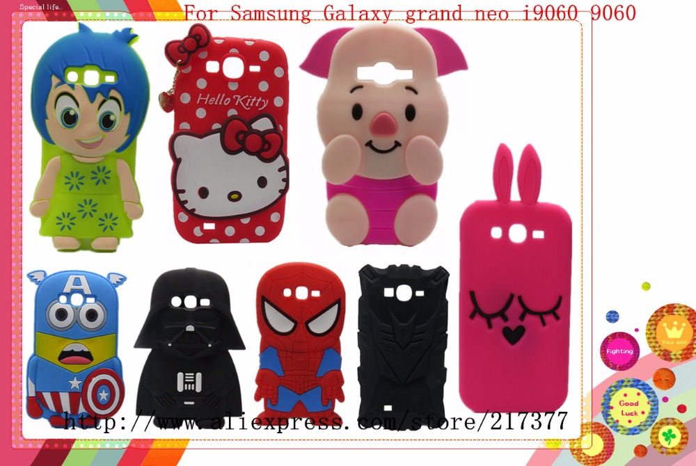 Samsung Galaxy grand neo i9060 9060 case 3D Cute Cartoon Diffie Cat Super Hero Darth Vader Bunny Pig KT Soft Silicone Case - Mobile Phone and Retail Center store