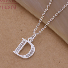 2015 Fashion 925 sterling silver pendant necklace with zircon letter D beautiful birthday gift classic charm jewelry hot(China (Mainland))