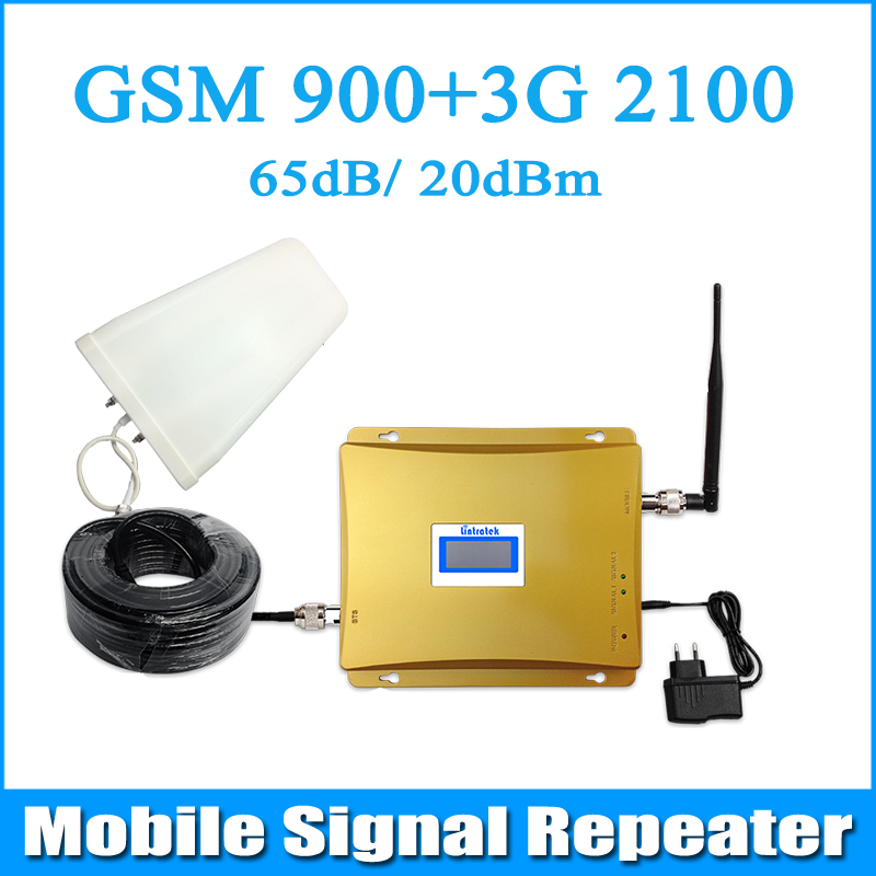 Gain 65dB GSM 900MHz UMTS 2100MHz 3G WCDMA Cell phone Signal Booster Dual Band Repeater with LDPA Whip Antenna and cables(China (Mainland))