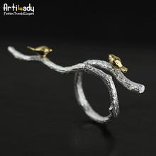 Artilady ручной стерлингового серебра 925 кольца элегантный птица на ветке дерева дизайн кольца для женщин ювелирные изделия свадебный подарок(China (Mainland))