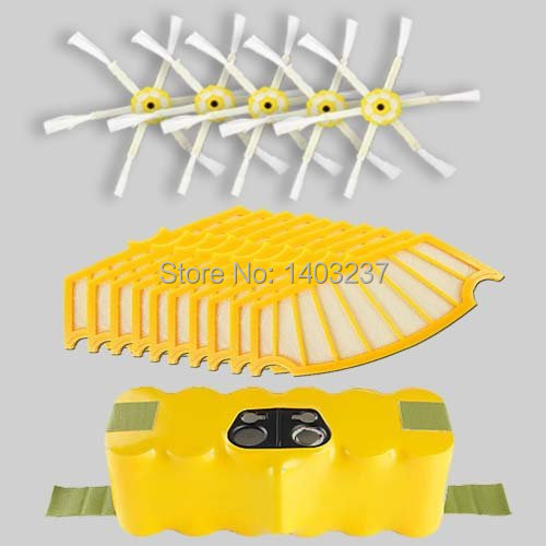 For iRobot Roomba 500 Vacuum Cleaner Accessory Kit 500 Series Accessory Kit - Includes: 1 Battery 5 Side Brushes 10 Filters(China (Mainland))