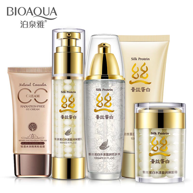 BIOAQUA Silk Protein Face Care Sets Oil Control Whitening Moisturizing Nourishing Shrink Pores Anti-Aging Anti Wrinkle Cosmetics<br><br>Aliexpress