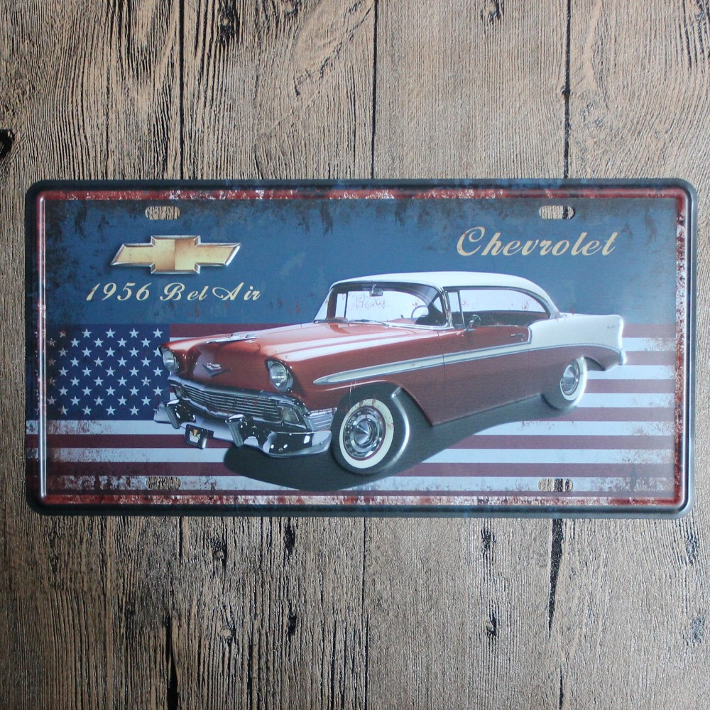 15*30cm Vintage Car Printing Tin Signs Metal License Plate Antique Metal Tin Painting Pub and Shop DECOR Wall Sticker(China (Mainland))