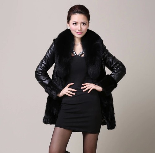 Genuine Leather women leather jacket winter 2014 new long section sheep skin fox fur mink leather padded coat LI666Одежда и ак�е��уары<br><br><br>Aliexpress