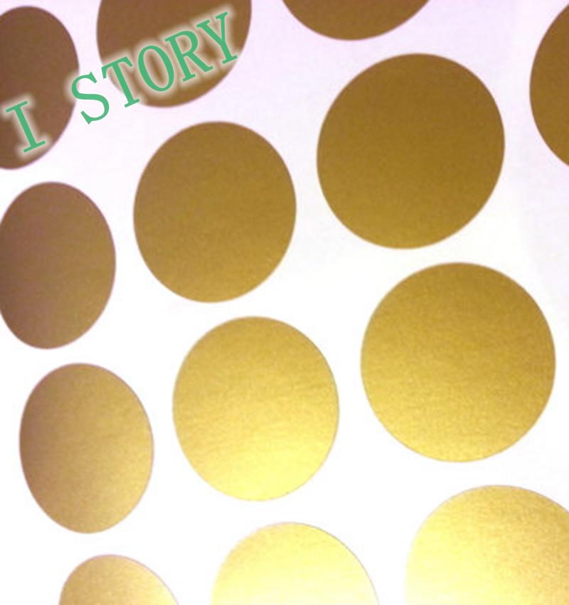 Polka dot wall sticker gold wall decal peel and for Gold polka dot china