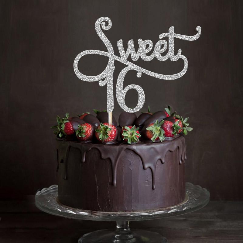 2019 Gold Silver Black Glitter Sweet 16 Cake Topper Girls Sixteenth