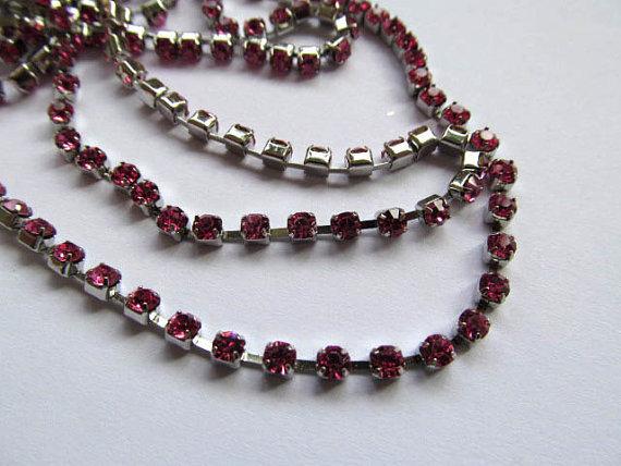 3mm 10M rhinestone chain,metal tone box crimsone fuchsia rose assortment jewelry stands  -  jewelrystore store