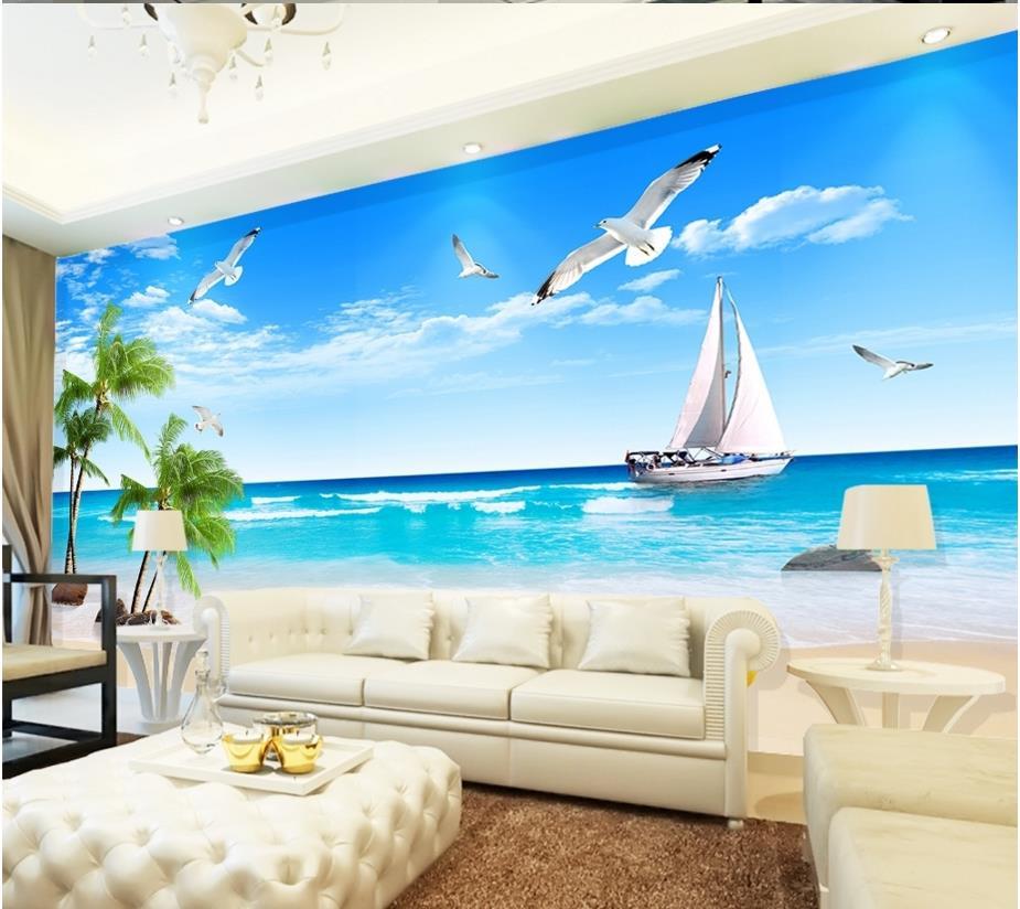 Custom 3d stereoscopic seaview palm seagull wallpaper living room wallpaper tv backdrop vinyl roll(China (Mainland))
