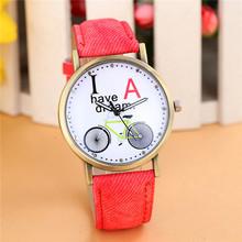 2015 nuevas mujeres del reloj lindo de la historieta de la bicicleta de la lona reloj de cuarzo analógico Casual reloj Relogio Feminino reloj moto