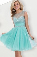 2016 Fall Under 60$ Cheap A Line Mini Sexy Beaded Crystal Red Mint Green Short Prom Dresses Homecoming Dress(China (Mainland))