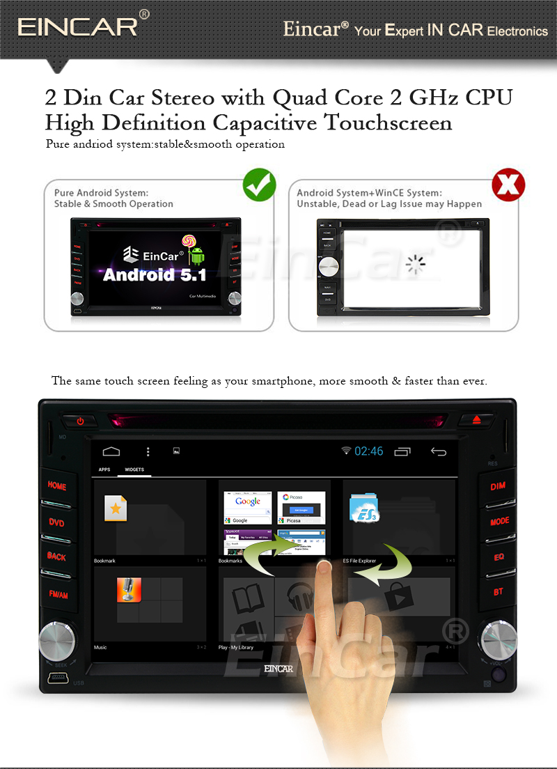 In-dash Android 5.1 Head Unit Double 2 Din Car Stereo DVD Player GPS Navigation Radio Phone Link Autoradio SWC WIFI AUX CAM-IN