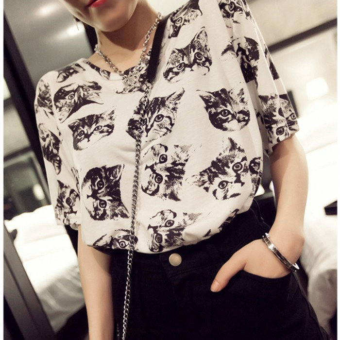 2015 south Korean women's short sleeve summer new fashion big yards joker printed cotton T-shirt female students coat - shuijingling store