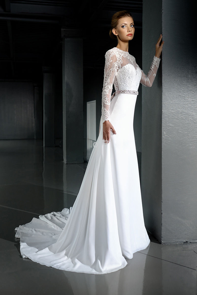 Open back bohemian wedding dress 2016 o neck long sleeves for Bohemian white wedding dress