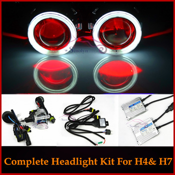 Car Styling HID Bixenon Head light Projector Lens+Angel Eyes Halo+ LED Devil Demon Eye+ Xenon+ Ballasts+Wiring Fits For H4, H7