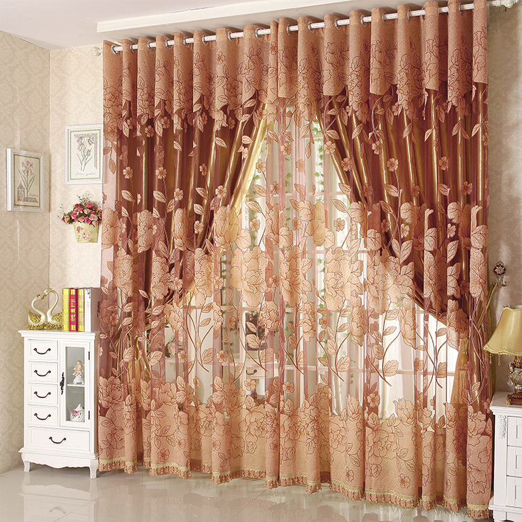 Hot sale tulle for windows curtain Jacquard embroidered volie sheer blackout curtains for living room the bedroom blinds panel(China (Mainland))