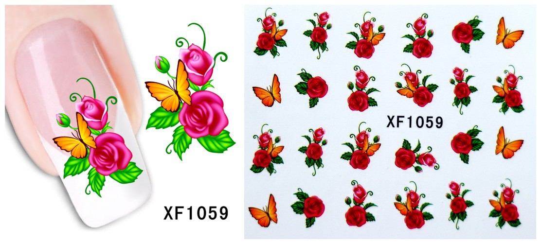 2016 Promotion Newwater Transfer Nail Art Stickers Decal Beauty Red Peony Flowers Green Leaf Design Manicure Toolxf1023