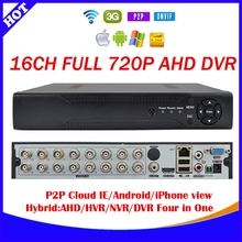 16channel AHD DVR 720P  H.264 CCTV Video Recorder Camera Onvif Network 16ch IP NVR/1080P Multilanguage