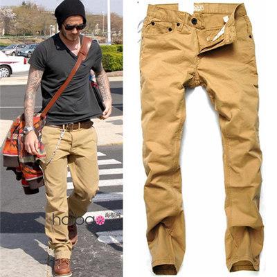 new Casual Pants fashion modern leisure quality brand designer same beckham two color pants jeans 2014 popular yellow slacks(China (Mainland))